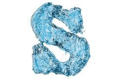 Lettera S, dell'acqua rappresentazione 3D Fotografia Stock Libera da Diritti