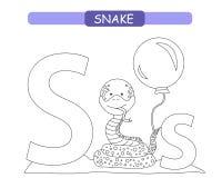 Lettera S e serpente divertente del fumetto Pagina di coloritura A-z di alfabeto degli animali Alfabeto sveglio dello zoo nel vet illustrazione vettoriale