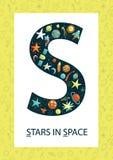 Lettera S variopinta di alfabeto Flashcard di ABC illustrazione di stock