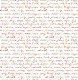 Lettera scritta mano d'annata - testo senza cuciture Ripetizione del modello, fondo scritto a mano Fotografie Stock Libere da Diritti