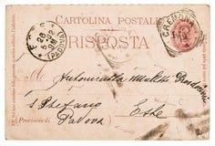Lettera scritta a mano italiana della cartolina Fotografia Stock Libera da Diritti