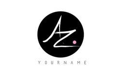 Lettera scritta a mano Logo Design della spazzola di AZ con il cerchio nero illustrazione di stock