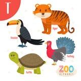 Lettera T Animali svegli Animali divertenti del fumetto nel vettore ABC fischia Fotografia Stock