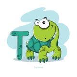 Lettera T con la tartaruga divertente Fotografie Stock