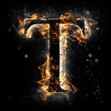 Lettera T del fuoco Fotografia Stock