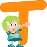 Lettera T (ragazza) di alfabeto illustrazione di stock