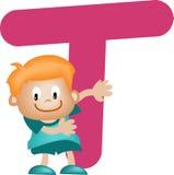 Lettera T (ragazzo) di alfabeto illustrazione di stock