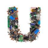 Lettera U fatta dei componenti elettronici Fotografie Stock Libere da Diritti