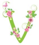Lettera V con le rose Fotografie Stock Libere da Diritti