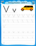 Lettera V di pratica di scrittura Fotografia Stock