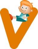 Lettera V (ragazza) di alfabeto illustrazione vettoriale
