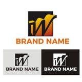 Lettera W con il logo quadrato di forma Fotografia Stock Libera da Diritti