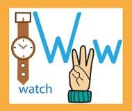 lettera w del fumetto alfabeto inglese creativo Concetto di ABC Linguaggio dei segni ed alfabeto Fotografie Stock Libere da Diritti