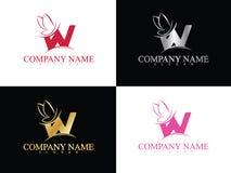 Lettera w dell'oro con il bello modello di logo dell'ala Fotografie Stock