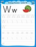 Lettera W di pratica di scrittura Fotografia Stock