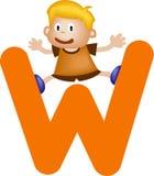 Lettera W (ragazzo) di alfabeto illustrazione di stock