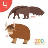 Lettera Y Animali svegli Animali divertenti del fumetto nel vettore ABC fischia Immagine Stock Libera da Diritti