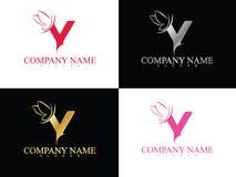 Lettera y dell'oro con il bello modello di logo dell'ala Immagine Stock Libera da Diritti