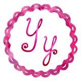 Lettera Y di alfabeto inglese, isolata su un fondo bianco, nel telaio elegante, scritto a mano Illustrazione dell'acquerello Per  royalty illustrazione gratis