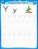 Lettera Y di pratica di scrittura Immagini Stock