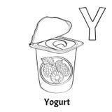 Lettera Y, pagina di coloritura di alfabeto di vettore yogurt Royalty Illustrazione gratis
