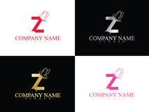 Lettera z dell'oro con il bello modello di logo dell'ala Fotografia Stock