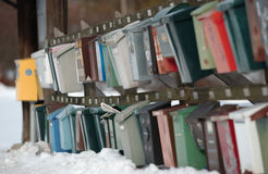 Letterbox. A lot of letterboxes hanging on a wall in Sweden Royalty Free Stock Photos