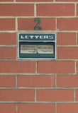 Letterbox in brick wall. Letterbox in red brick wall Royalty Free Stock Images