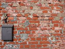 Letterbox on Wall of old bricks. Letterbox on Wall of old red bricks with plaster rests Royalty Free Stock Image