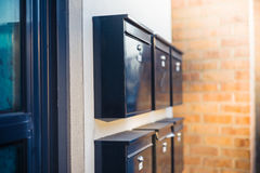Letterboxes at sunset Royalty Free Stock Image