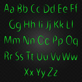 Lettere al neon d'ardore, alfabeto di VETTORE Immagine Stock