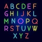 Lettere al neon di alfabeto Fotografia Stock Libera da Diritti
