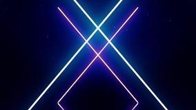 Lettere al neon di alfabeto X nel moto su fondo blu scuro I simboli al neon bianchi dell'estratto formano geometrico dipendono sc illustrazione vettoriale