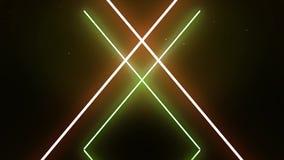 Lettere al neon di alfabeto X nel moto su fondo verde scuro e nero I simboli al neon bianchi dell'estratto formano geometrico illustrazione vettoriale