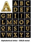 Lettere alfabetiche in metallo dell'oro Fotografia Stock