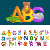 Lettere animali di ABC per istruzione di alfabeto dei bambini di asilo o della scuola Immagine Stock