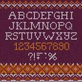Lettere astratte tricottate fatte a mano di ABC di alfabeto della fonte del modello del fondo, numeri, illustrazione vettoriale