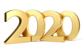 2020 lettere audaci dorate 3d-illustration Illustrazione di Stock