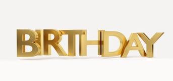 Lettere audaci dorate 3d-illustration di compleanno Royalty Illustrazione gratis
