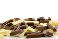 Lettere bianche e marroni della caramella di cioccolato Fotografie Stock Libere da Diritti