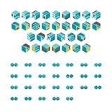 Lettere Blocky esagonali isometriche illustrazione di stock