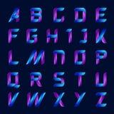 Lettere blu e porpora di alfabeto inglese di colore messe Fotografia Stock Libera da Diritti