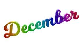 Lettere calligrafiche di titolo di testo di mese di dicembre 3D colorate con la pendenza dell'arcobaleno di RGB illustrazione di stock