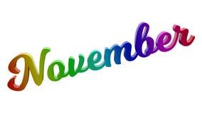 Lettere calligrafiche di titolo di testo di mese di novembre 3D colorate con la pendenza dell'arcobaleno di RGB royalty illustrazione gratis