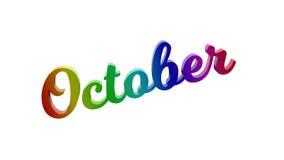 Lettere calligrafiche di titolo di testo di mese di ottobre 3D colorate con la pendenza dell'arcobaleno di RGB illustrazione di stock