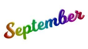 Lettere calligrafiche di titolo di testo di mese di settembre 3D colorate con la pendenza dell'arcobaleno di RGB illustrazione vettoriale