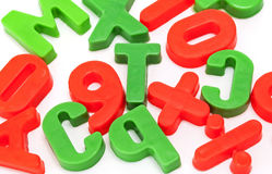 Lettere colorate bambini Fotografia Stock