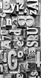 Lettere composte del testo di tipografia del torchio tipografico Fotografia Stock Libera da Diritti