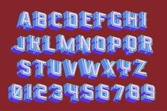 lettere d'annata 3D con le luci al neon Fotografie Stock Libere da Diritti