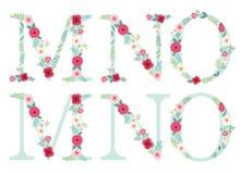 Lettere d'annata sveglie di alfabeto con i fiori rustici disegnati a mano royalty illustrazione gratis